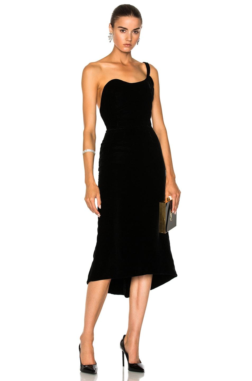Image 1 of Oscar de la Renta Velvet One Shoulder Cocktail Dress in Black