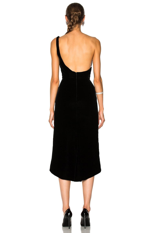 Image 3 of Oscar de la Renta Velvet One Shoulder Cocktail Dress in Black