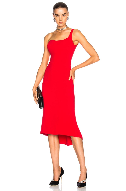 Image 1 of Oscar de la Renta for FWRD One Shoulder Cocktail Dress in Red