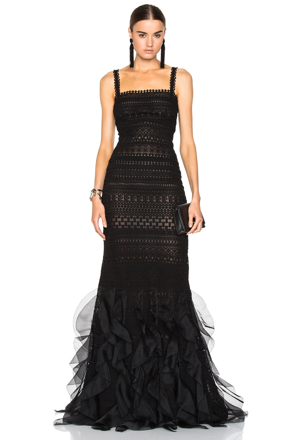 Image 1 of Oscar de la Renta Lace Gown in Black