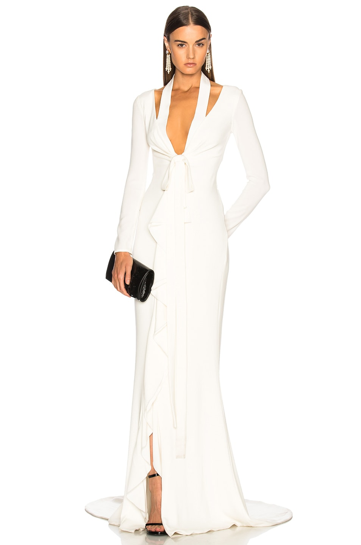 Oscar de la Renta Tie Front Cutout Gown in Cream | FWRD