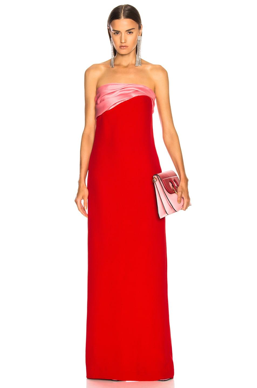 Image 1 of Oscar de la Renta Contrast Bodice Strapless Gown in Scarlet