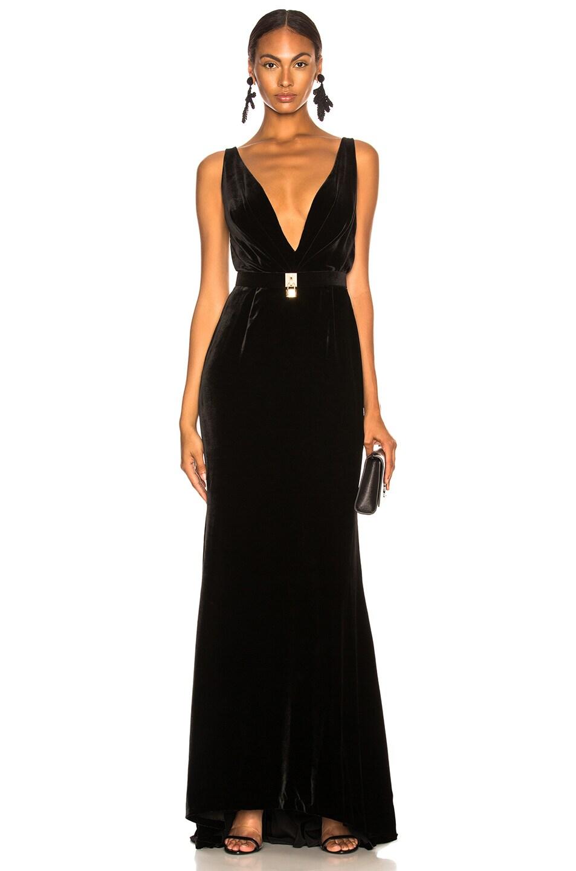 Oscar de la Renta Belt Detail Plunging Velvet Gown in Black   FWRD