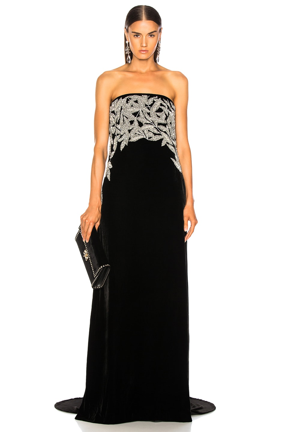Image 1 of Oscar de la Renta Leaf Embroidered Velvet Strapless Gown in Black & Silver