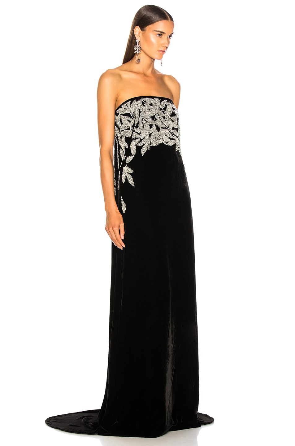 Image 2 of Oscar de la Renta Leaf Embroidered Velvet Strapless Gown in Black & Silver