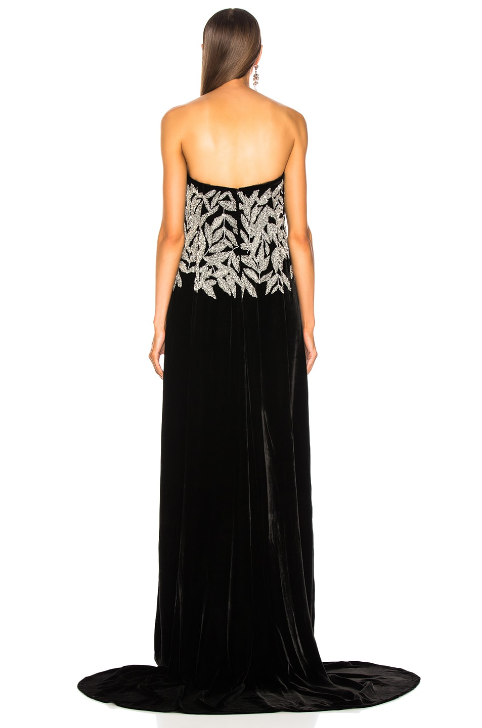 Image 3 of Oscar de la Renta Leaf Embroidered Velvet Strapless Gown in Black & Silver
