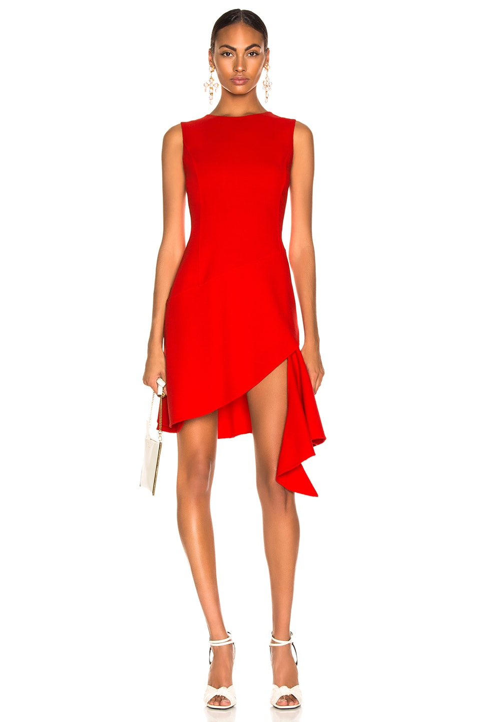 Image 1 of Oscar de la Renta Slit Dress in Cayenne