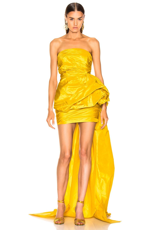 Image 1 of Oscar de la Renta Strapless Ruched Silk Mini Dress in Yellow