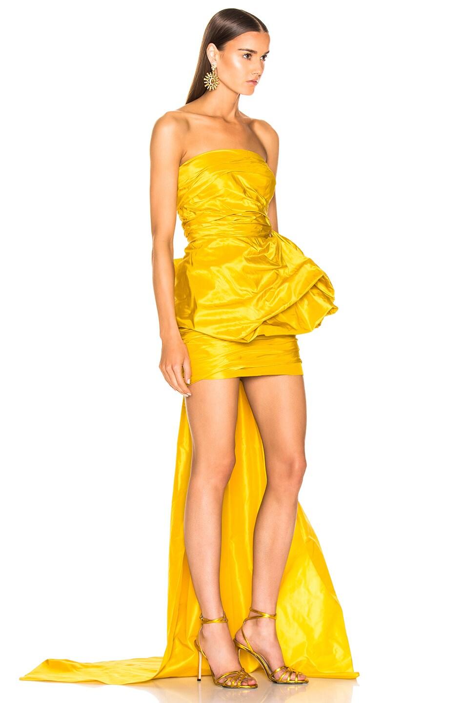 Image 2 of Oscar de la Renta Strapless Ruched Silk Mini Dress in Yellow