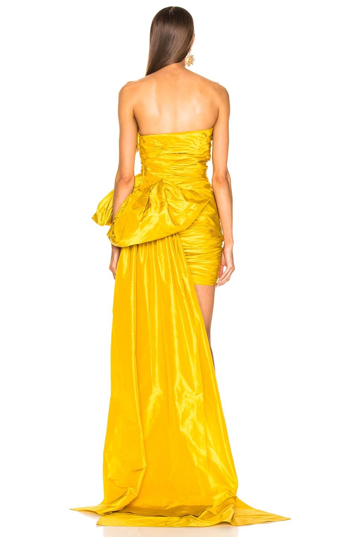 Image 4 of Oscar de la Renta Strapless Ruched Silk Mini Dress in Yellow