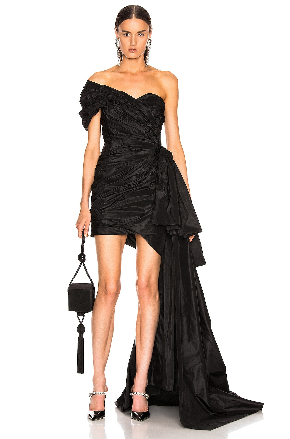 Image 1 of Oscar de la Renta One Shoulder Strapless Dress in Black