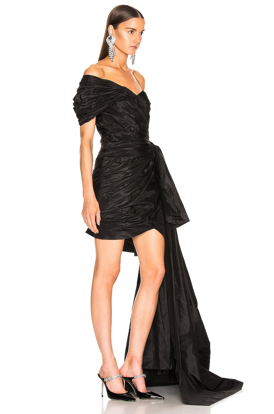Image 2 of Oscar de la Renta One Shoulder Strapless Dress in Black