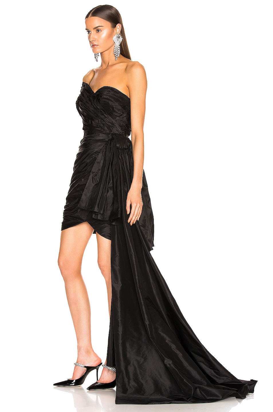 Image 3 of Oscar de la Renta One Shoulder Strapless Dress in Black