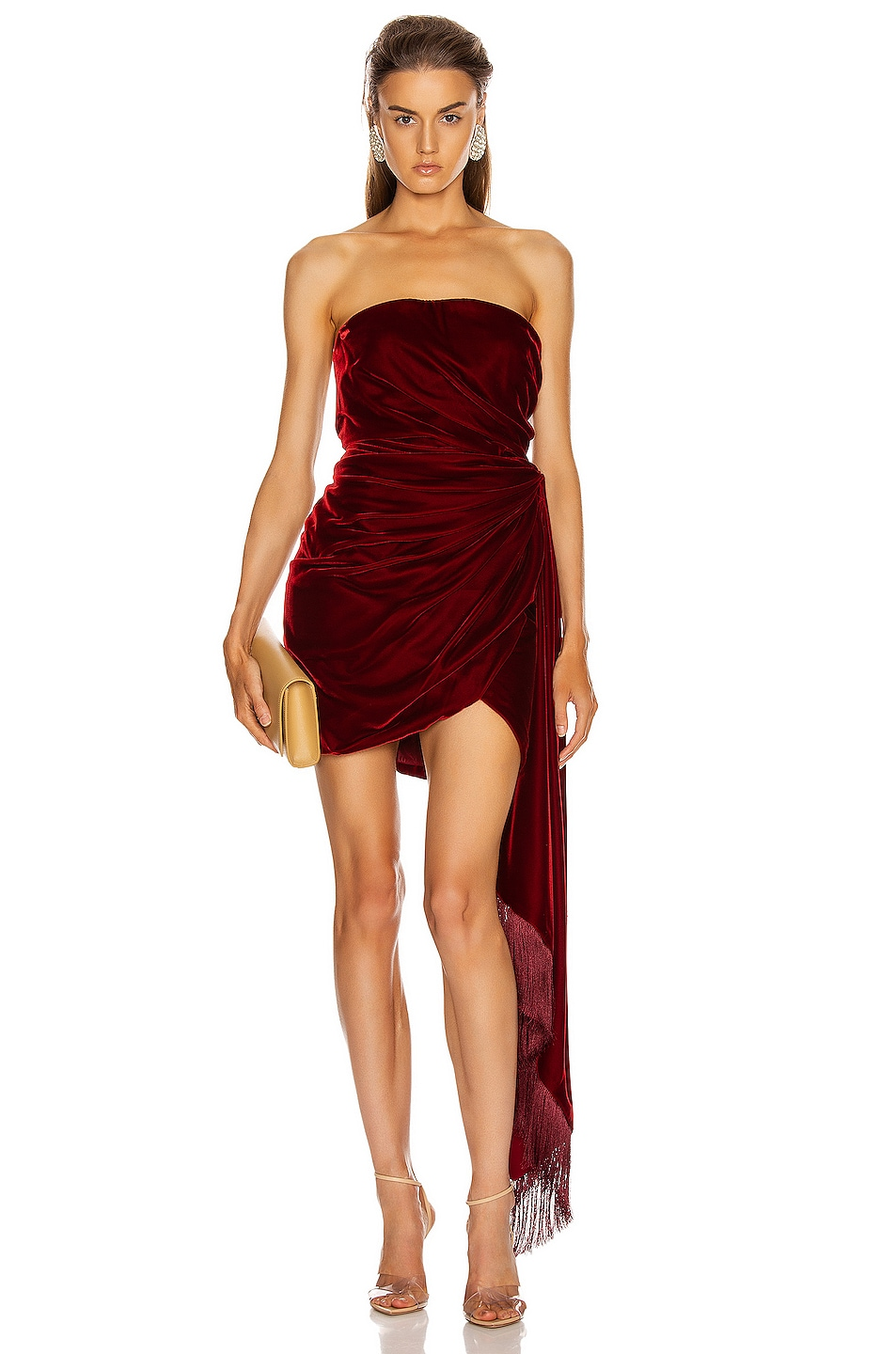 Image 1 of Oscar de la Renta Strapless Cocktail Dress in Claret