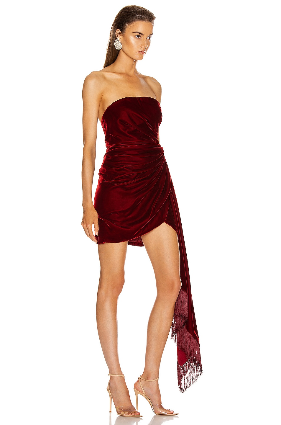 Image 2 of Oscar de la Renta Strapless Cocktail Dress in Claret