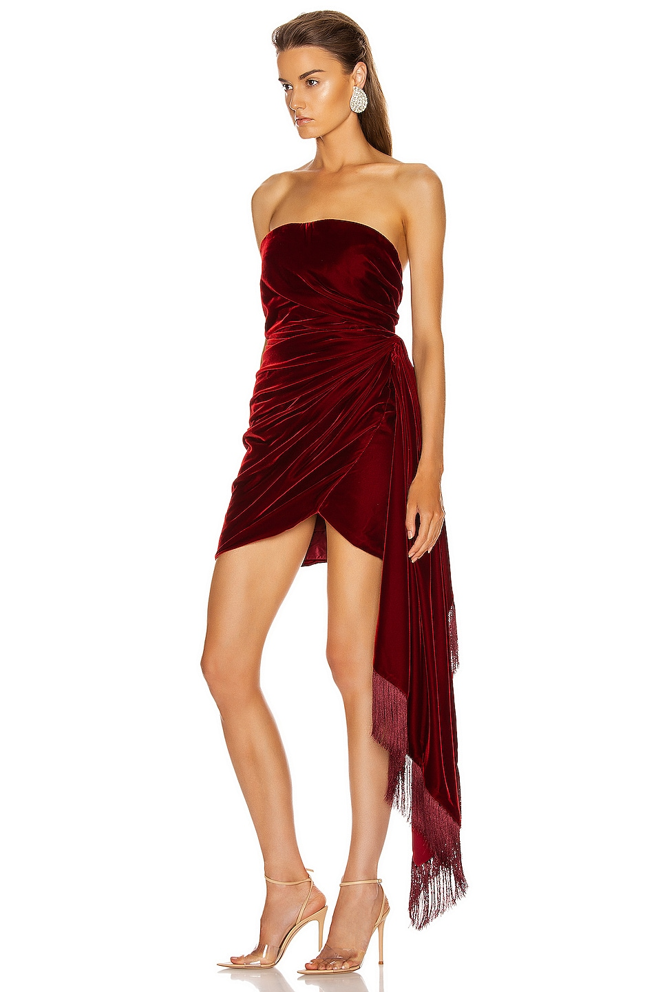 Image 3 of Oscar de la Renta Strapless Cocktail Dress in Claret