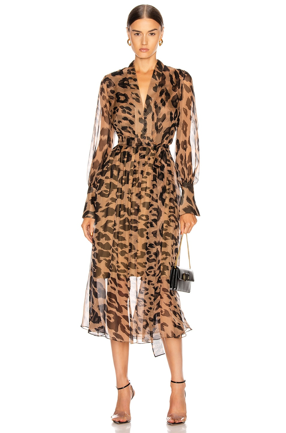 Image 1 of Oscar de la Renta Leopard Day Dress in Camel
