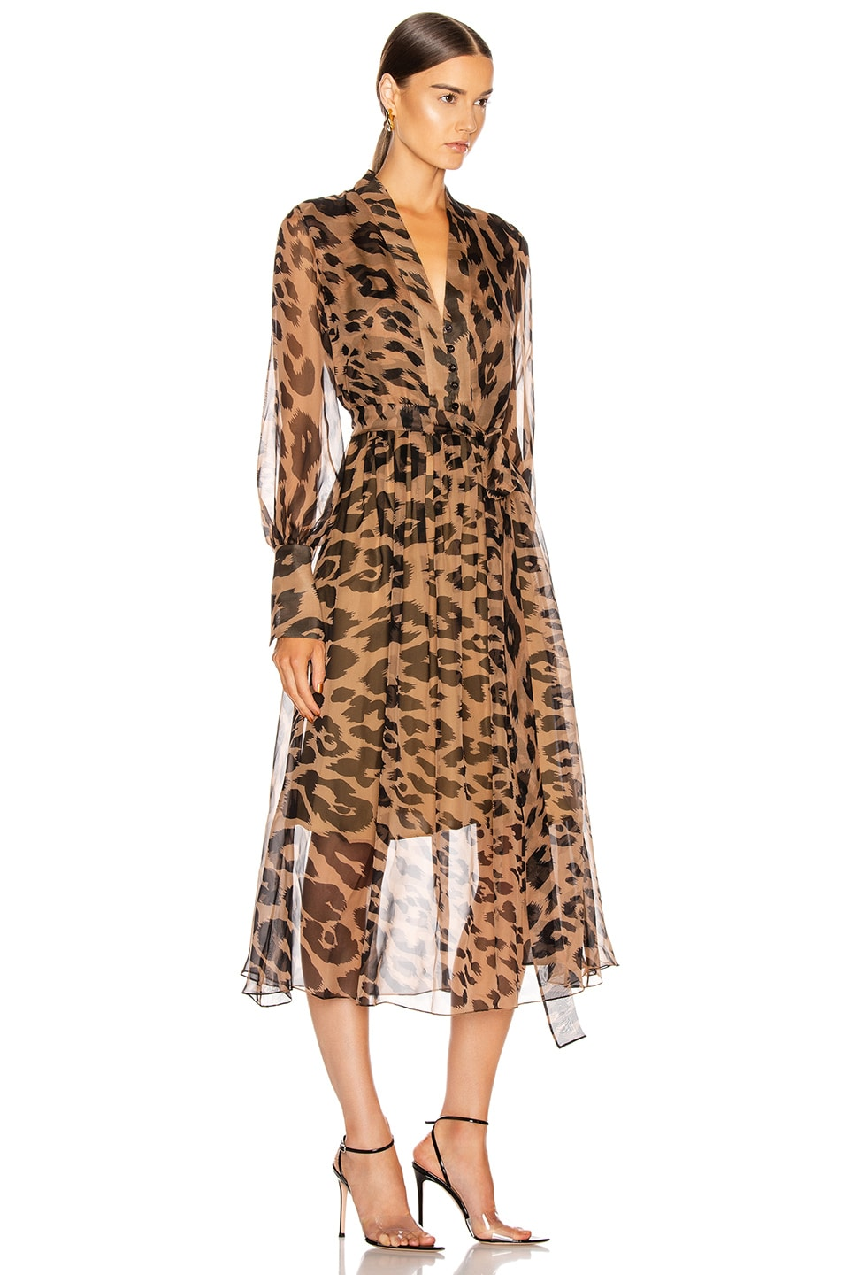 Image 2 of Oscar de la Renta Leopard Day Dress in Camel