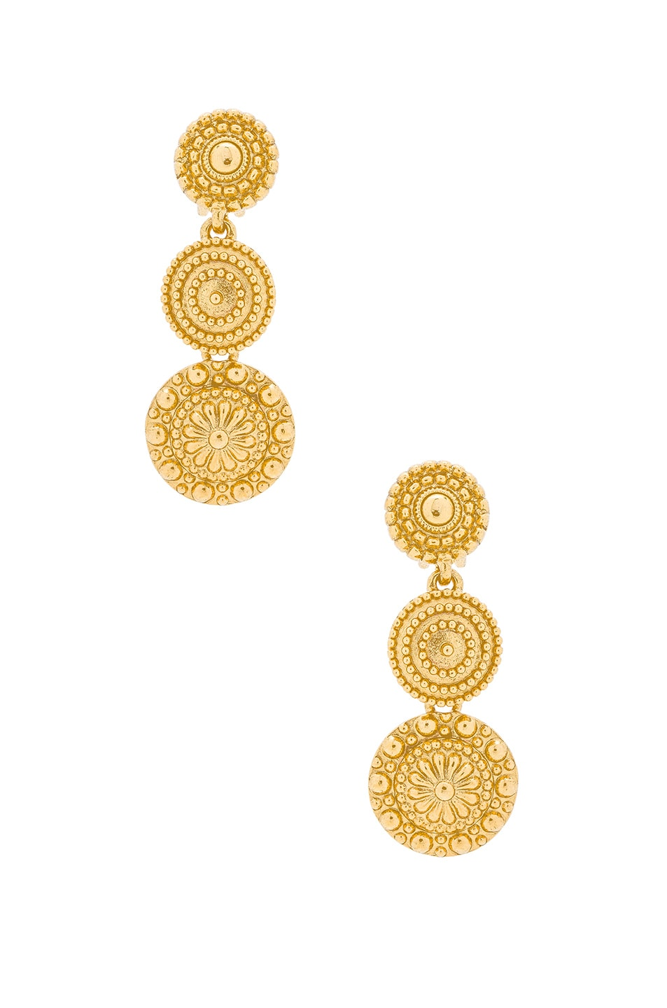 Image 1 of Oscar de la Renta Textured Metal Disc Earring in Gold