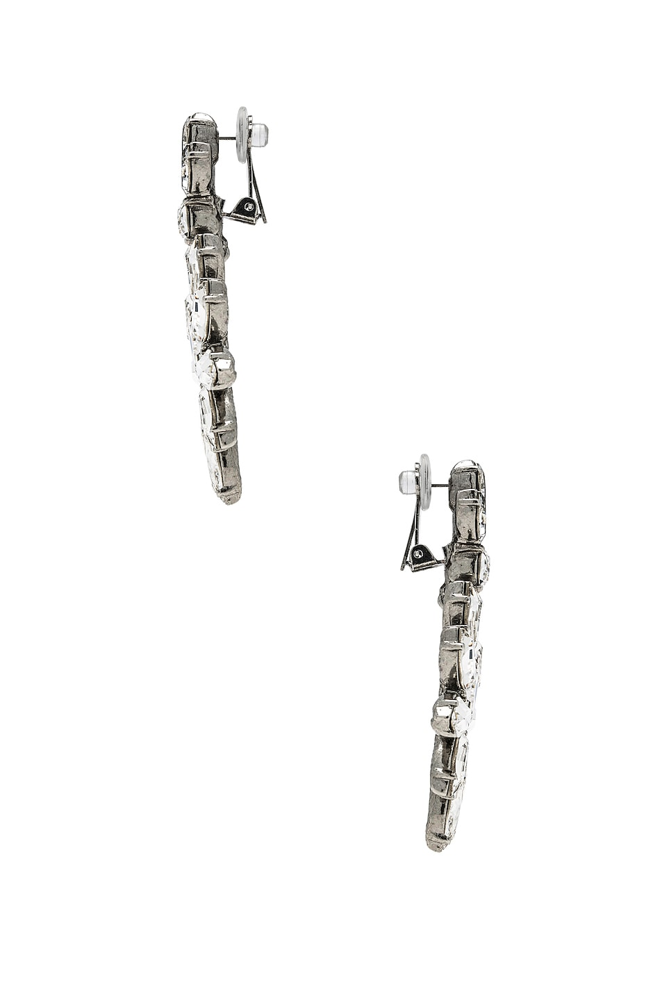 Image 3 of Oscar de la Renta Navette Crystal Earrings in Crystal & Silver