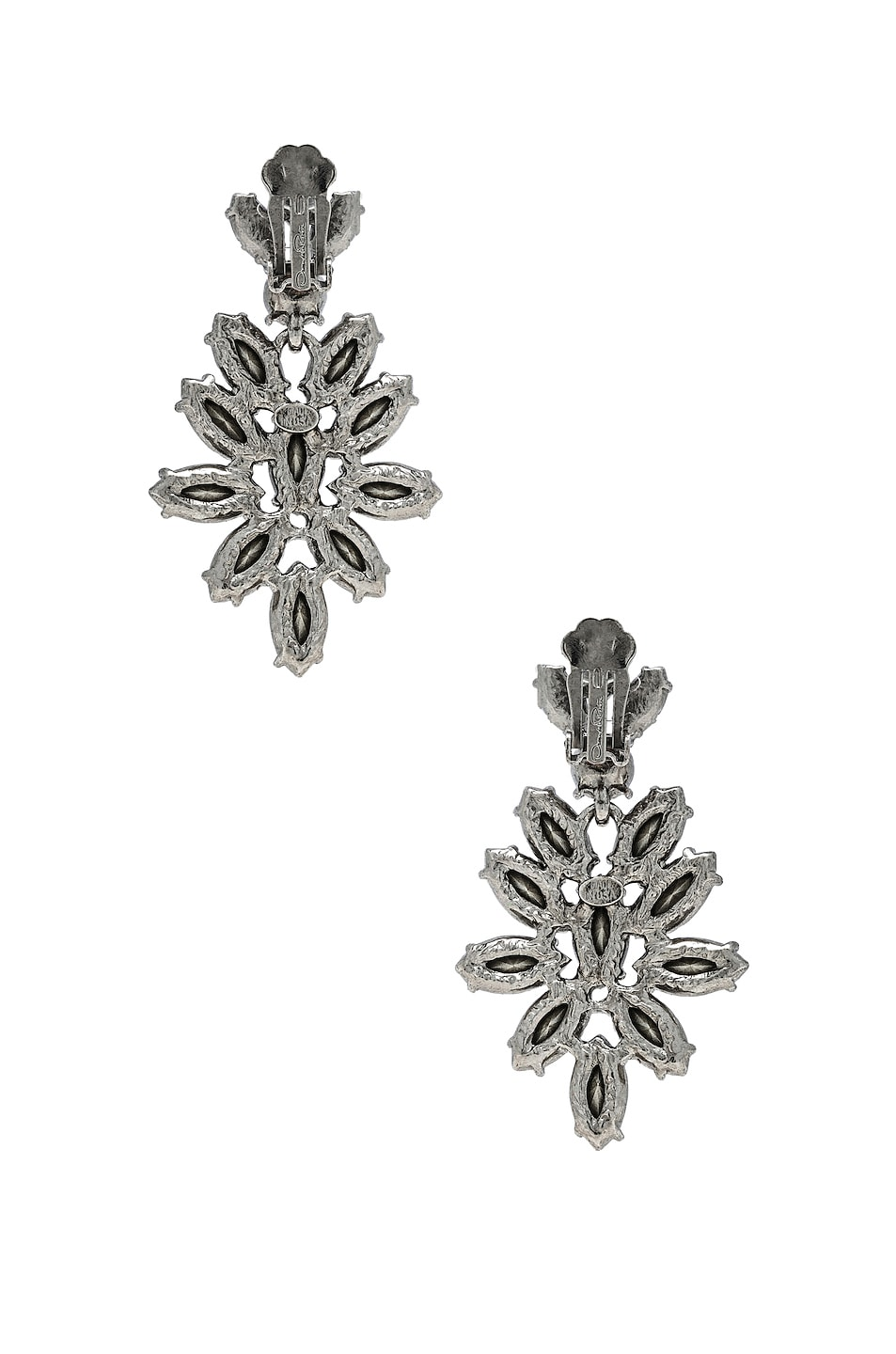 Image 4 of Oscar de la Renta Navette Crystal Earrings in Crystal & Silver