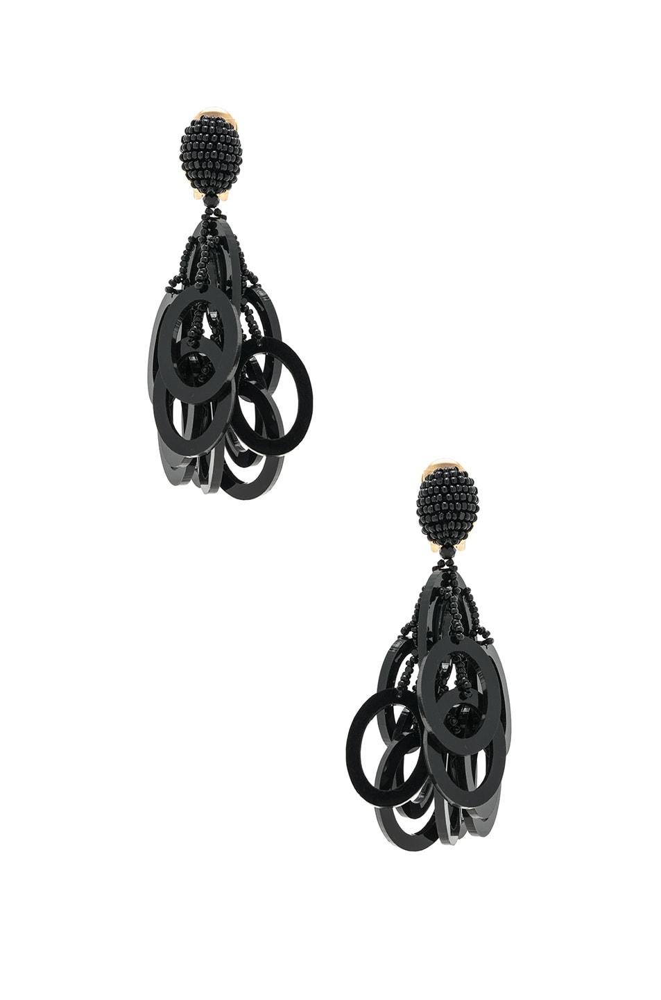 Image 1 of Oscar de la Renta PVC Circle Link Earrings in Black