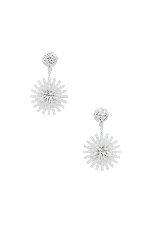 Image 1 of Oscar de la Renta Pom Pom Flower Beaded Earrings in White