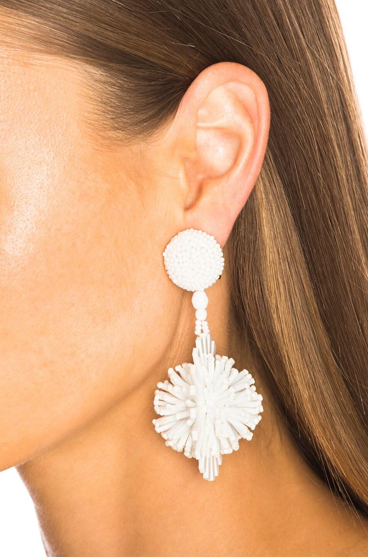 Image 4 of Oscar de la Renta Pom Pom Flower Beaded Earrings in White