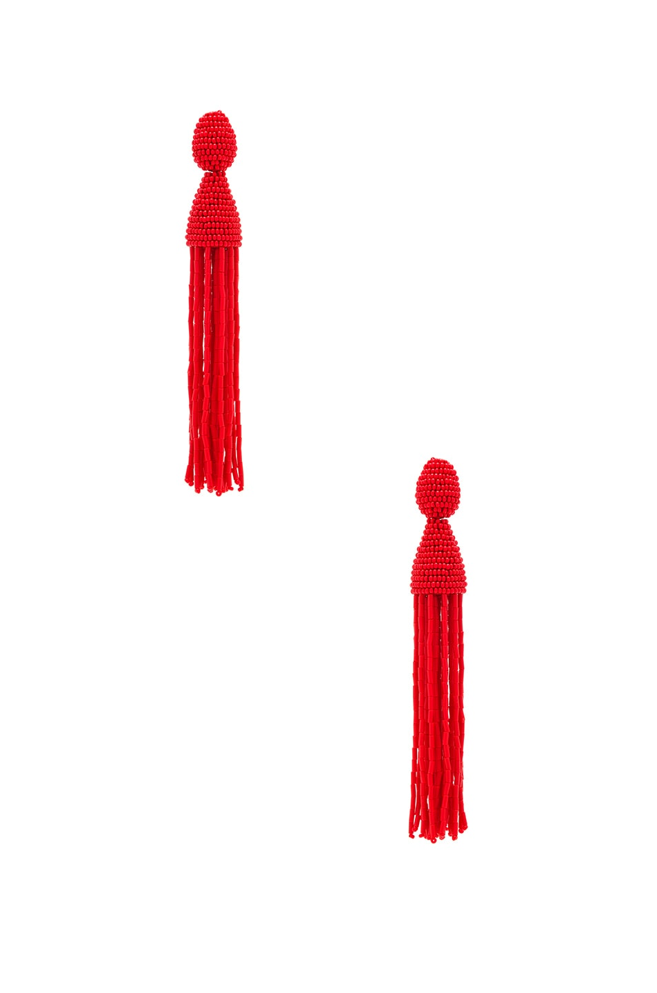 Image 1 of Oscar de la Renta Long Bugle Bead Tassel Earrings in Persimmon