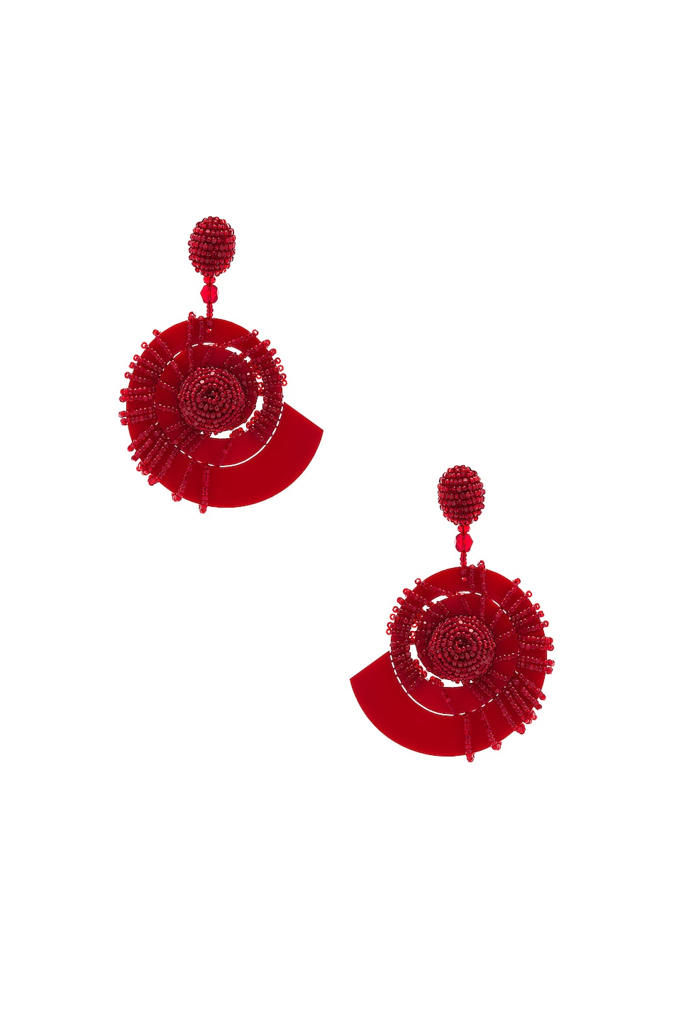 Image 1 of Oscar de la Renta Beaded Seashell Earrings in Mulberry