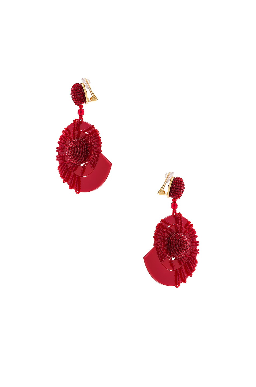 Image 3 of Oscar de la Renta Beaded Seashell Earrings in Mulberry
