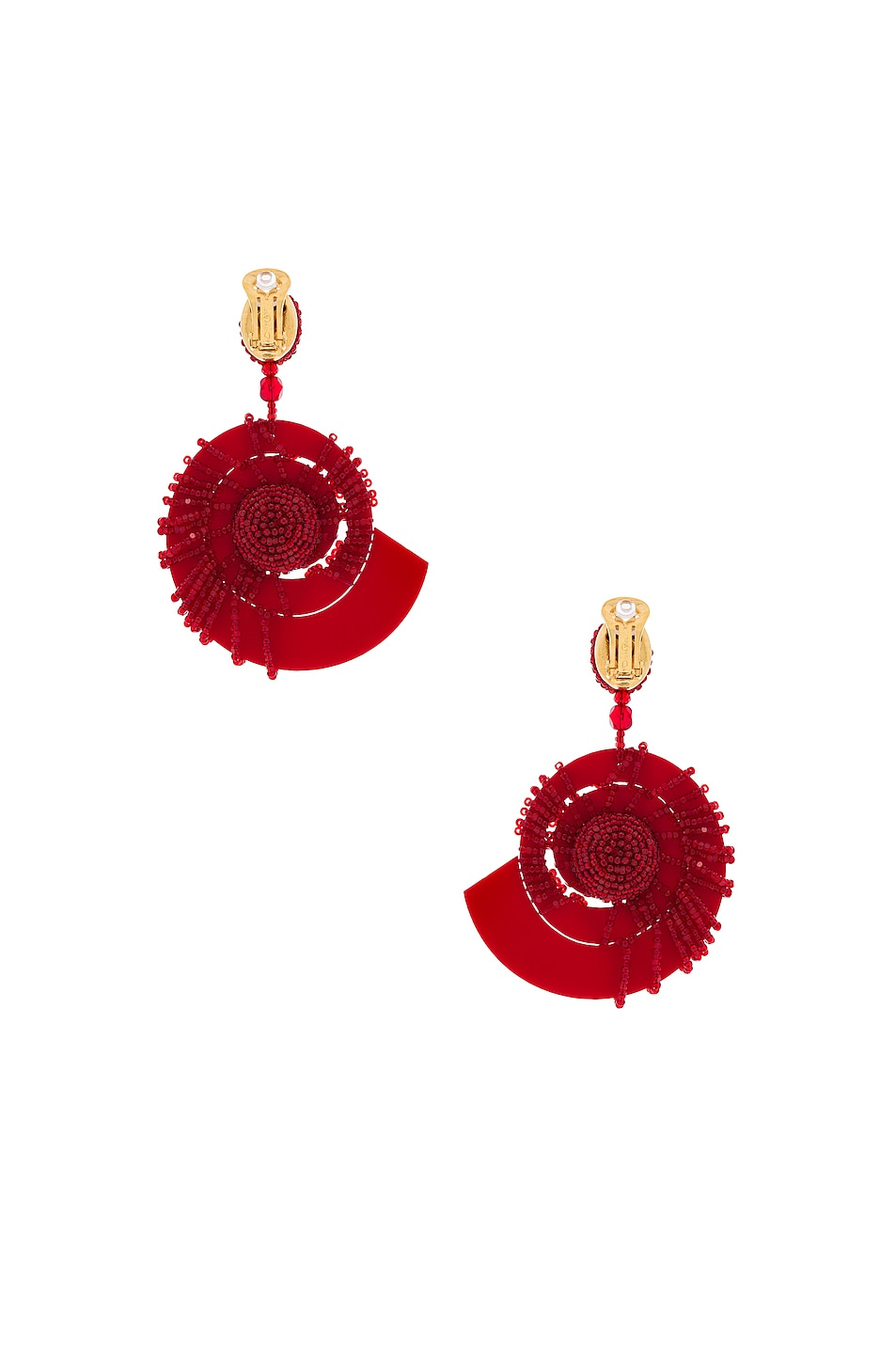 Image 4 of Oscar de la Renta Beaded Seashell Earrings in Mulberry