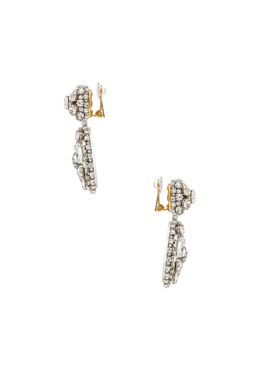 Image 2 of Oscar de la Renta Bold Disk Crystal Earrings in Crystal
