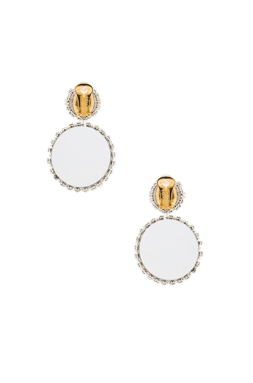 Image 3 of Oscar de la Renta Bold Disk Crystal Earrings in Crystal