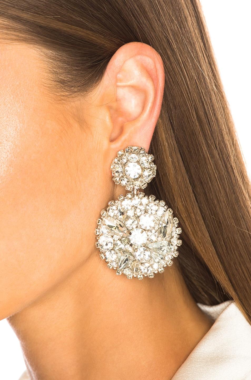 Image 4 of Oscar de la Renta Bold Disk Crystal Earrings in Crystal