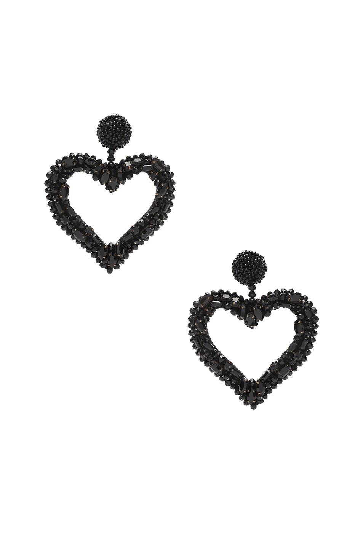Image 1 of Oscar de la Renta Jeweled Heart Earrings in Black