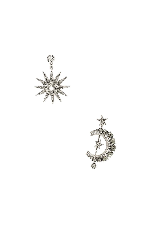 Image 1 of Oscar de la Renta Moon & Stars Earrings in Black Diamond