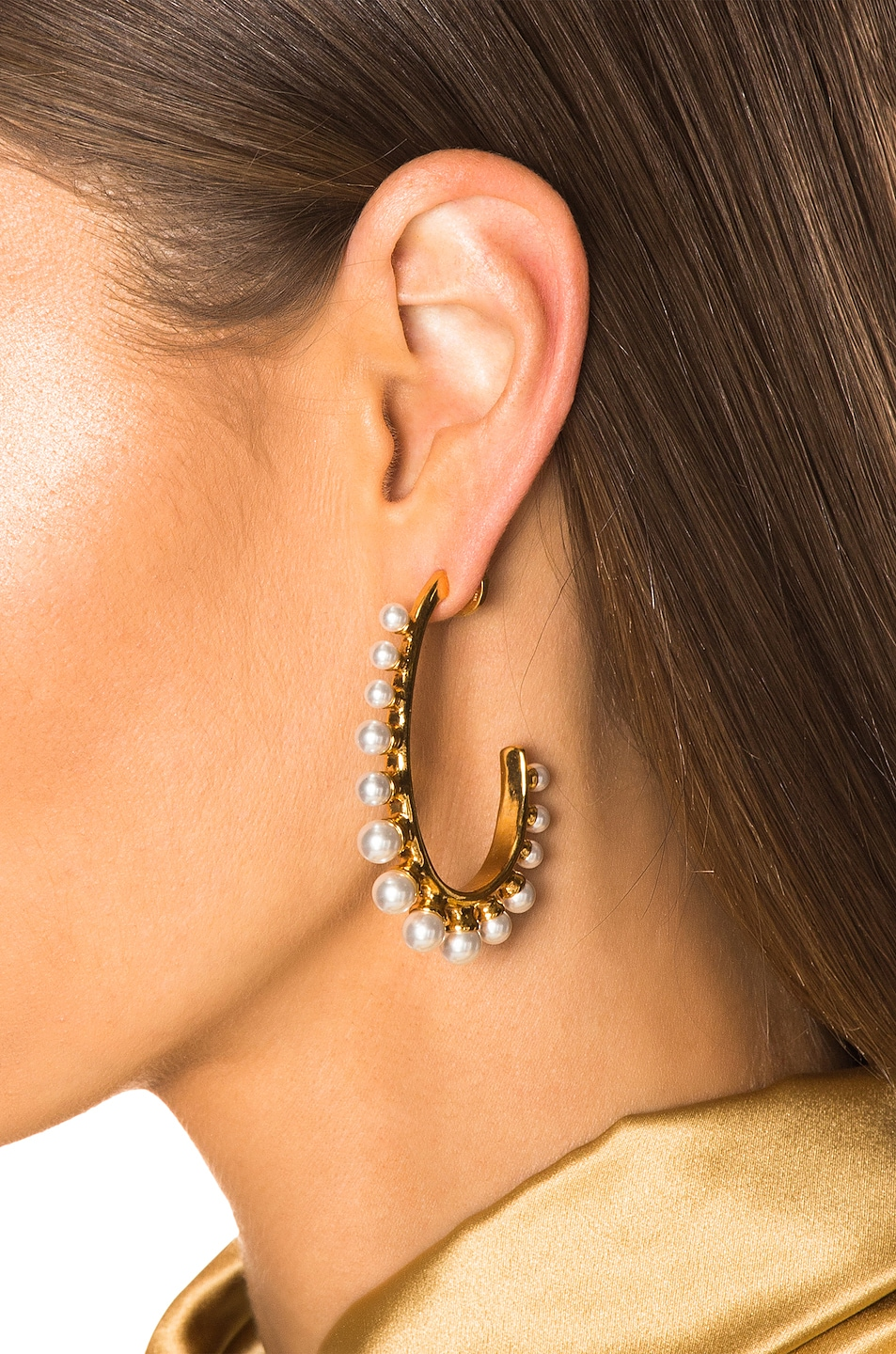 Image 2 of Oscar de la Renta Pearl Earrings in Gold