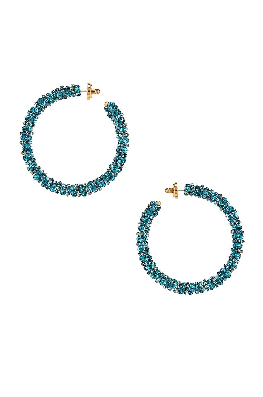 Image 1 of Oscar de la Renta Beaded Hoop Earrings in Aqua