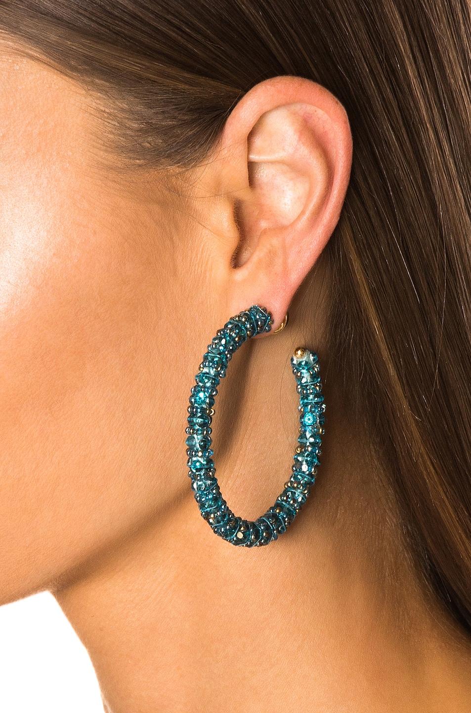 Image 2 of Oscar de la Renta Beaded Hoop Earrings in Aqua