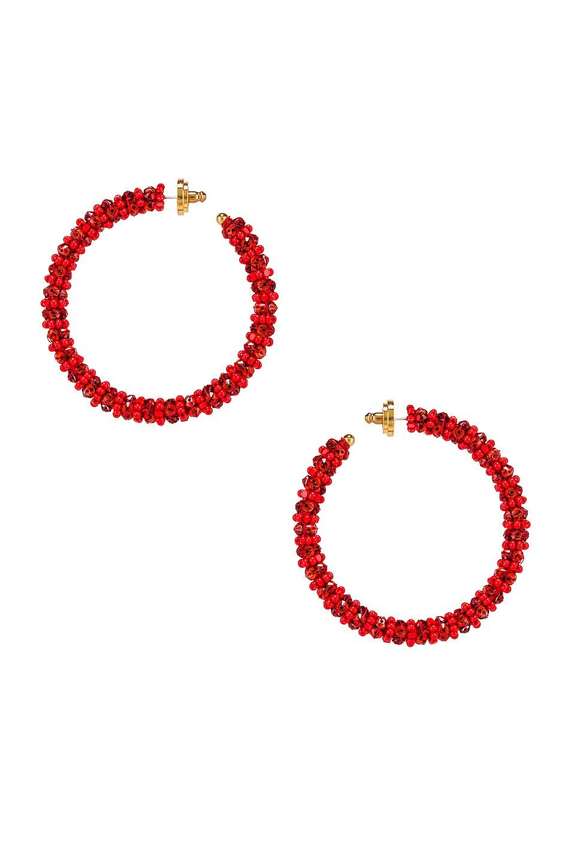 Image 1 of Oscar de la Renta Beaded Hoop Earrings in Cayenne