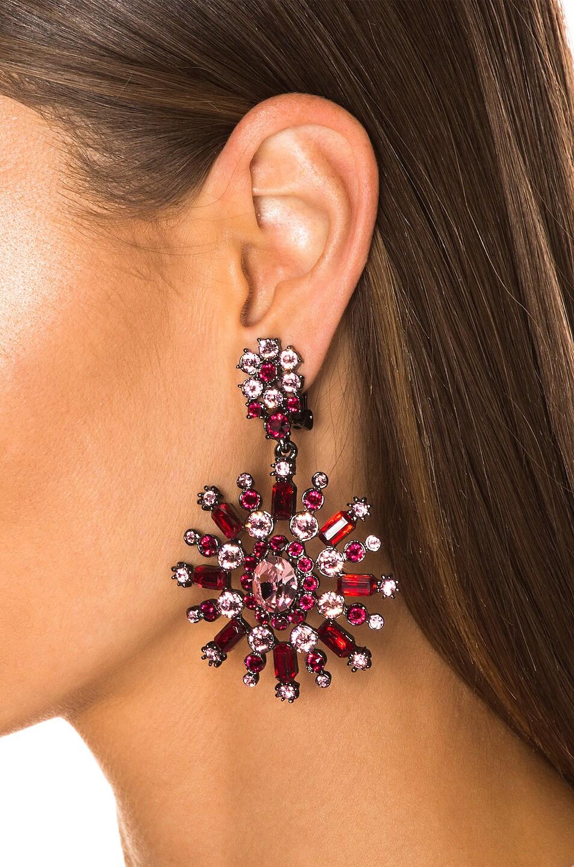 Image 2 of Oscar de la Renta Flower Pave Earrings in Cayenne