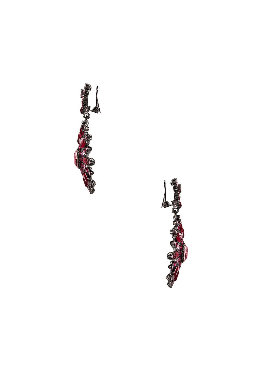Image 3 of Oscar de la Renta Flower Pave Earrings in Cayenne