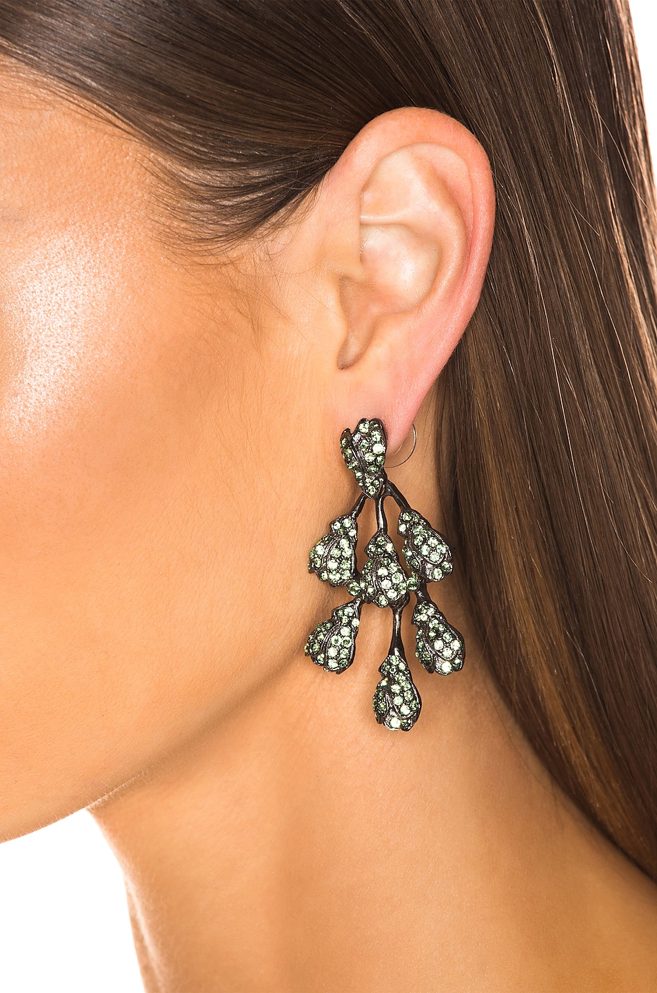 Image 2 of Oscar de la Renta Vine Drop Earrings in Peridot