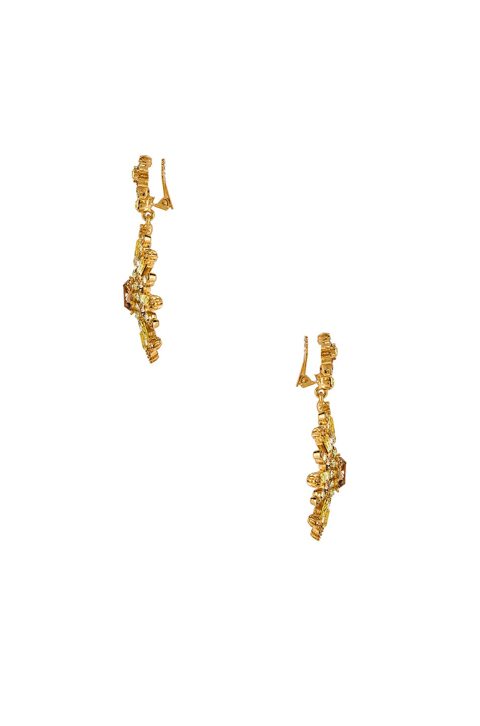 Image 2 of Oscar de la Renta Flower Pave Earrings in Silk