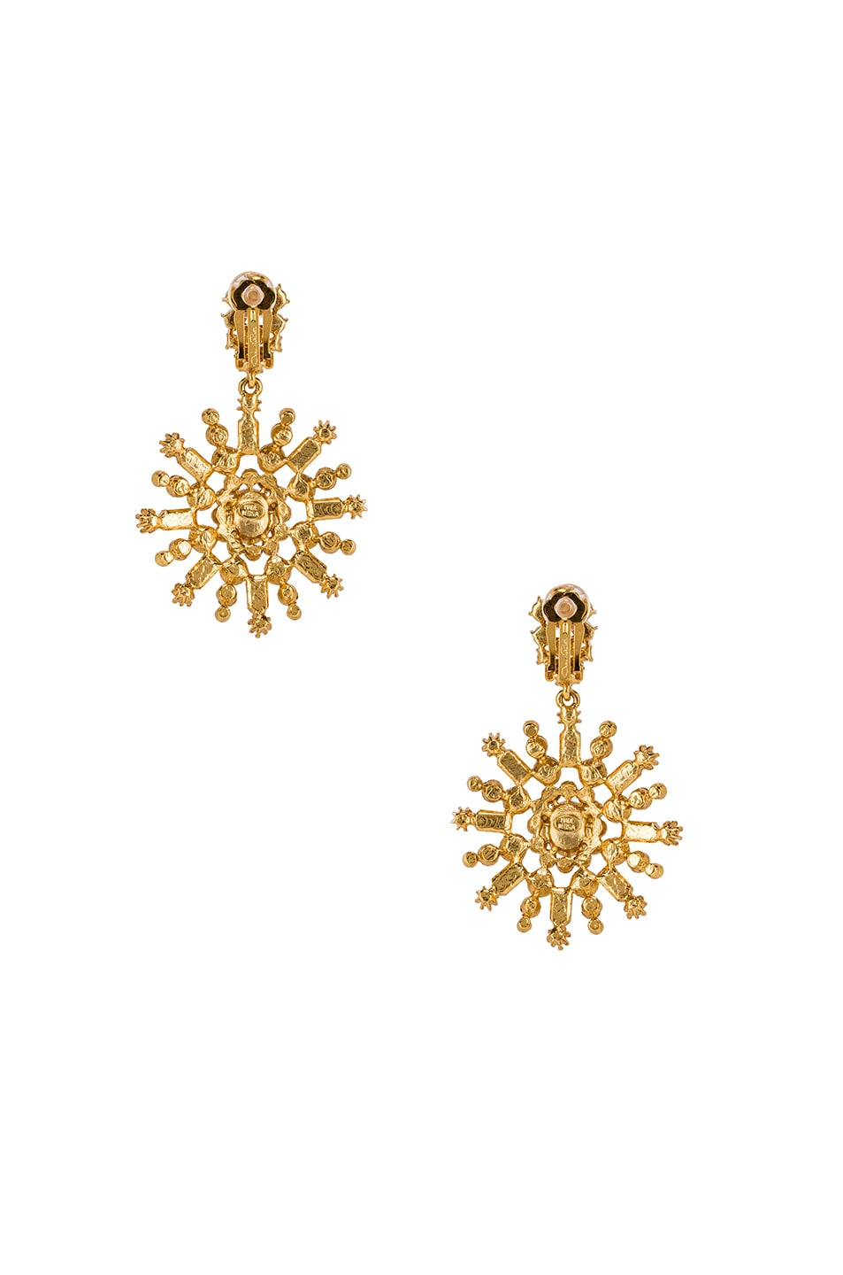 Image 3 of Oscar de la Renta Flower Pave Earrings in Silk