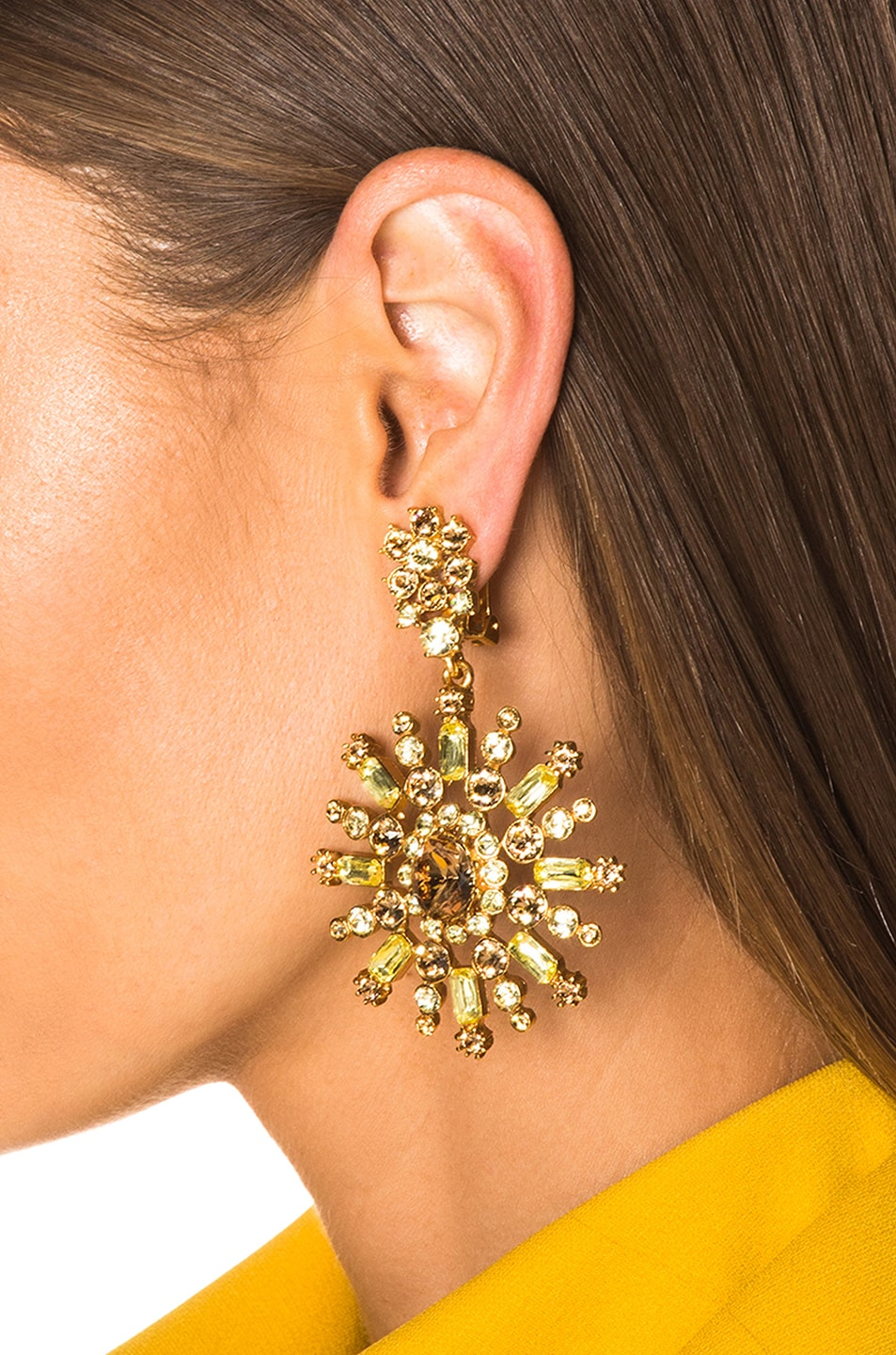 Image 4 of Oscar de la Renta Flower Pave Earrings in Silk
