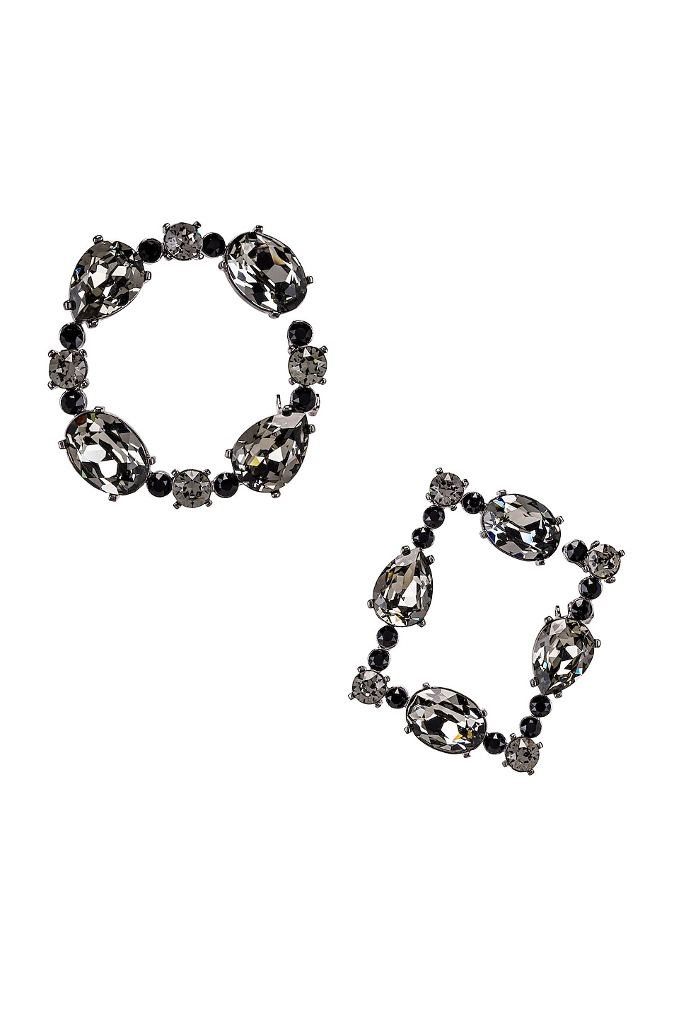Image 1 of Oscar de la Renta Crystal Earrings in Black Diamond