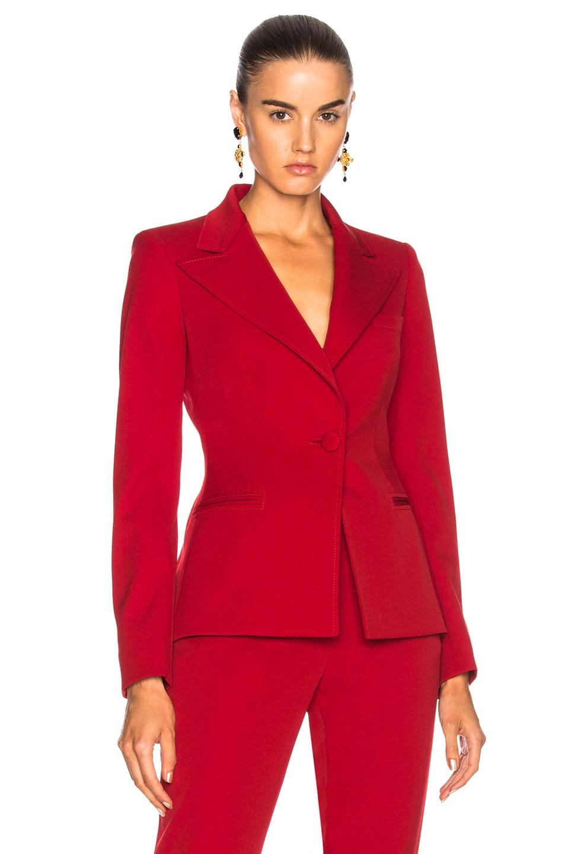 Image 2 of Oscar de la Renta for FWRD Suit Jacket in Red