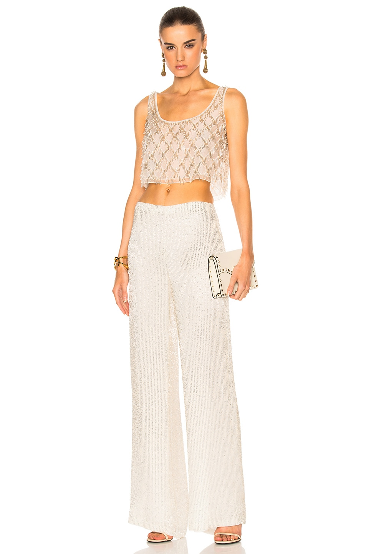 Image 5 of Oscar de la Renta Embellished Pant in Light Silver